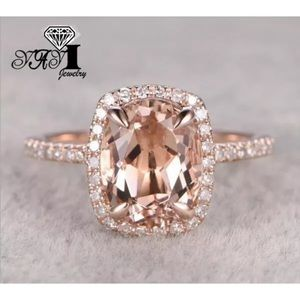 Jewelry - Oval Morganite Halo Rose Gold Engagement Ring